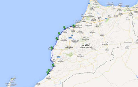 kaart-kustroute-marokko-heritage-travel